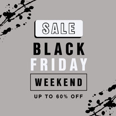grey black friday weekend sale 60% off sale instagram square ad Black Friday
