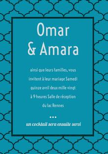 middle eastern wedding cards Carte de remerciement de mariage