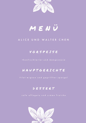 light purple wedding menu  Menü