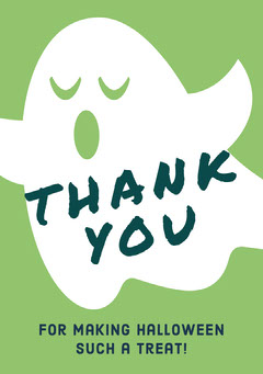 Ghost Trick Or Treat Halloween Party Thank You Card Halloween Party Thank you Card