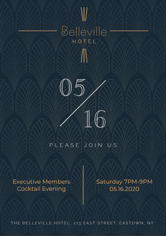 Navy and Gold Minimal Art Deco Belleville Hotel Cocktail Evening Invitation  Hotels
