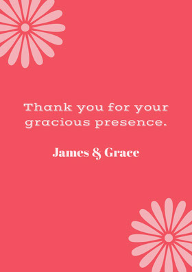 Red and Pink Wedding Thank You Card Thank You Card