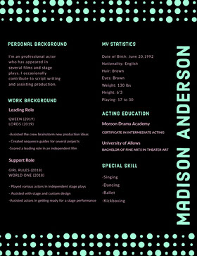 Black and Cyan Modern Actor Resume with Dots Modern Resume