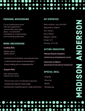 Black and Cyan Modern Actor Resume with Dots Acting Resume