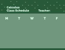 Green and Navy Green Empty Schedule Class Schedule