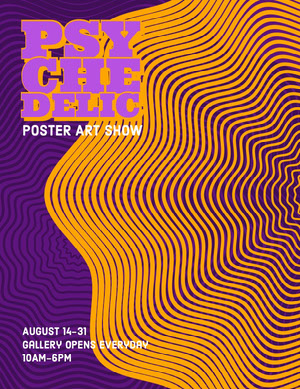 Yellow and Purple Psychedelic Poster Art Show Poster Kunstplakat