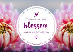 Pink and White Happy Valentine's Day Card Valentine's Day