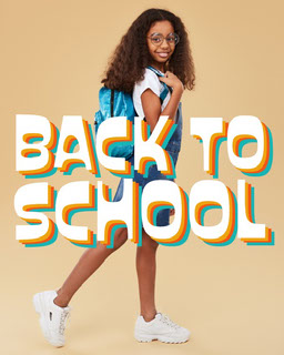 Orange Background Smiling Girl with Backpack Photo  Back to School Poster