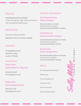 Pink and Grey Fashion Designer Resume Modern Resume