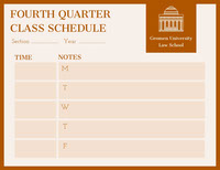 FOURTH QUARTER <BR>CLASS SCHEDULE  Timeplan