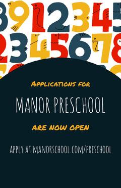 Colorful and Black Preschool Applications Poster Preschool Flyer