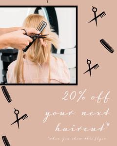 Beige & Black Haircut Promotion Instagram Portrait Marketing