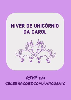 purple shades unicorn birthday cards  Convite de aniversário de unicórnio
