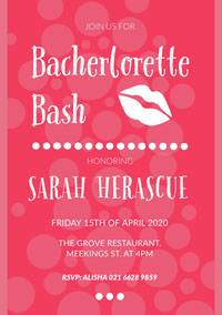 Pink and White, Flashy, Becherlorette Bash Party Invitation Card Boda