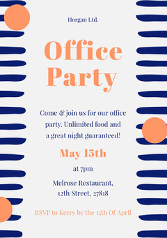Orange and Navy Office Party Invitation Card Party
