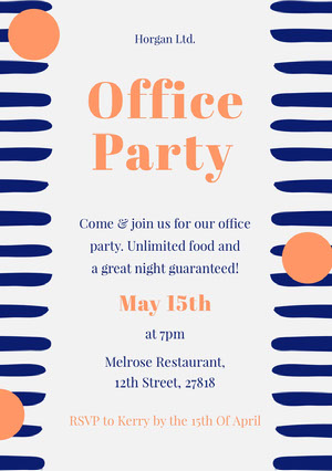 Orange and Navy Office Party Invitation Card Email Invitation