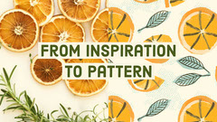 Orange From Inspiration to Pattern Craft Blog Post Graphic with Fruit and Leaves Fruit