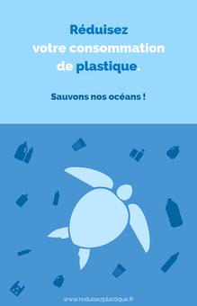 Light sky blue steel blue turtle plastic - poster Affiche