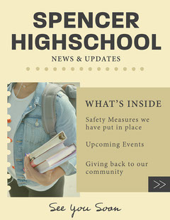 Cream & Black Dotted Lines Student Newsletter Back to School