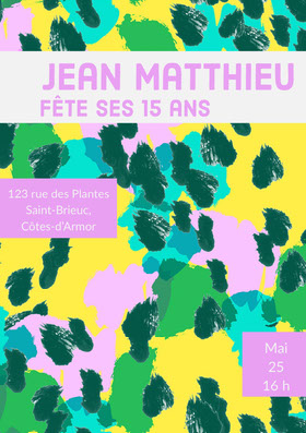 Jean Matthieu  Invitation d'anniversaire