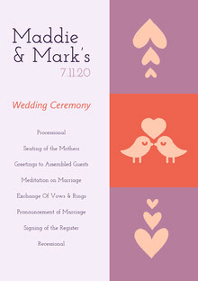 White Pink and Violet Wedding Ceremony Program Programa de bodas
