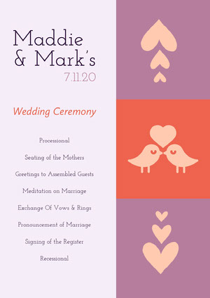 White Pink and Violet Wedding Ceremony Program Pink Flyers