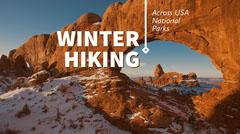 Winter Hiking Blog Post Graphic with Rock Formation in Desert Landscape Desert