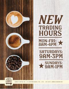 Brown Coffee Roasters New Hours Flyer Coffee