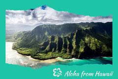 Green Aloha From Hawaii Postcard Ocean