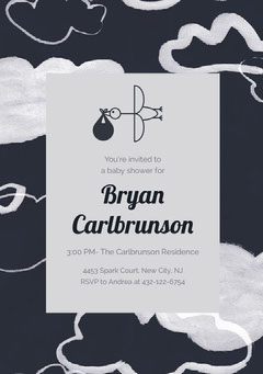 Navy Blue and Grey Baby Shower Invitation Baby Shower