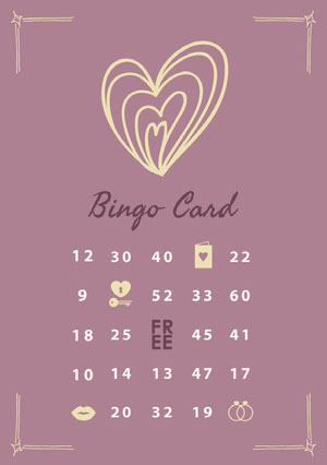 Valentines Day Party Bingo Card Bingokort