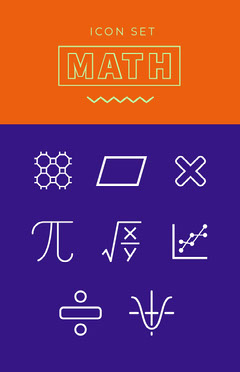Orange Violet and White Math Icons Poster Math