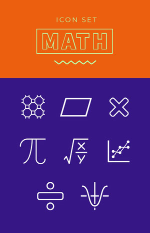 Orange Violet and White Math Icons Poster Iconos gratuitos