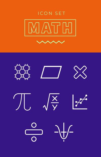 Orange Violet and White Math Icons Poster Icônes gratuites