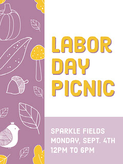 Violet and Yellow Labor Day Picnic Poster Labor Day Flyer
