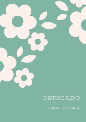 light blue and white floral wedding thank you cards  Cartão de agradecimento