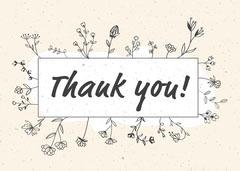 Cream and Black Hand Drawn Flower Frame Thank You Card Teacher