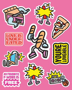 Pink, Yellow, Colorful, Flashy Food Related Stickers Instagram Portrait Jokes