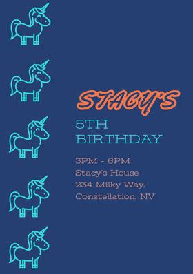 Blue and Orange Birthday Invitation Bachelorette Party Invitation