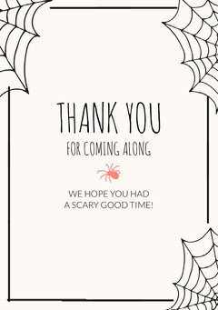 Spooky Costume Party Halloween Thank You Card Halloween Party Thank you Card