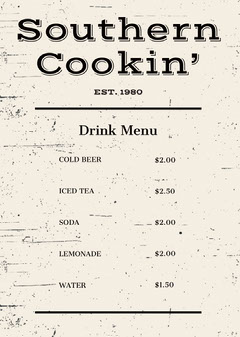 Rustic Drink Restaurant Menu Drink Menu