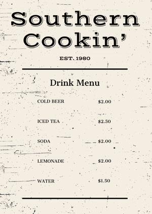 Rustic Drink Restaurant Menu Drink Menu