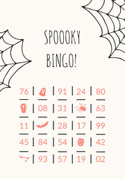 Orange Spider and Cobweb Illustrated Halloween Party  Bingo Card Fête d'Halloween