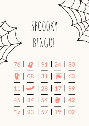 Orange Spider and Cobweb Illustrated Halloween Party  Bingo Card Halloween Party