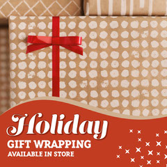 Red & Brown Christmas Gift Wrapping Instagram Square  Gold