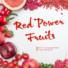 Red Healthy Fruit Instagram Square Graphic Wellness