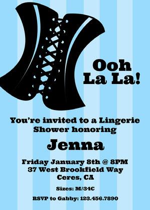 Blue Striped Lingerie Shower Invitation Lingerie Shower Invitation