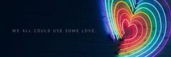 Black and Neon Rainbow Heart Twitter Header Love