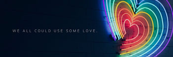 Black and Neon Rainbow Heart Twitter Header Tamaño de imagen de Twitter