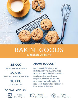 Orange Food Blogger Media Kit with Cookies Kit per i media